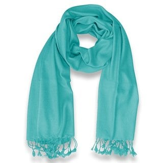 Peach Couture 100-percent Cashmere Turquoise Shawl