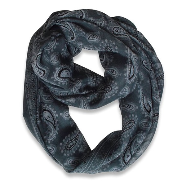 Peach Couture Dark Grey Classic Lightweight Paisley Infinity Loop Scarf