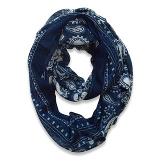 Peach Couture Navy Classic Lightweight Paisley Infinity Loop Scarf