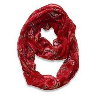Peach Couture Burgundy Classic Lightweight Paisley Infinity Loop Scarf