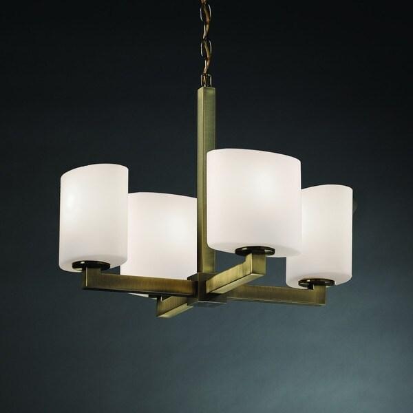 Justice Design Modular 4-Light Halogen Chandelier, Brass
