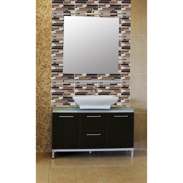 Magic Gel Coffee/Beige Piano Mosaic 9.125x9.125 Self Adhesive Vinyl Wall Tile - 6 Tiles/20.82 sq ft.per case pack 15580331