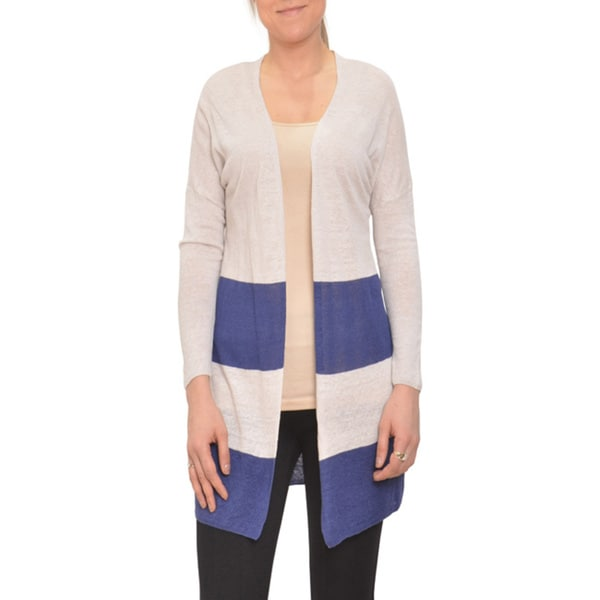 Bellario Colorblock Nautical Style Longsleeve Open Front Cardigan