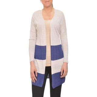 Bellario Colorblock Nautical Style Longsleeve Open Front Cardigan