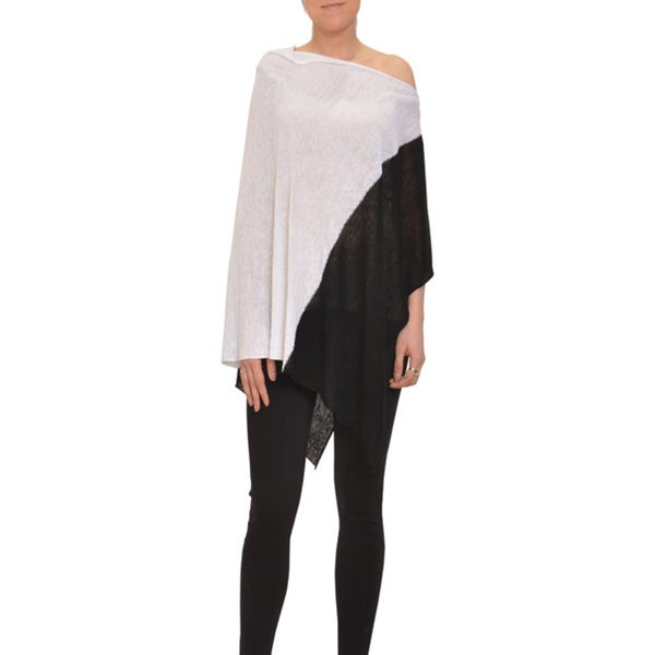 Bellario Black and White Asymmetric Poncho