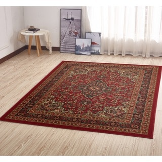 "Ottomanson Ottohome Collection Persian Heriz Oriental Design Red Runner Rug (3'3"" x 5'0"")"