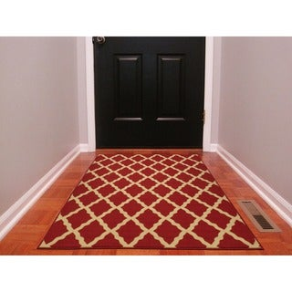 "Ottohome Collection Red Color Contemporary Morrocon Trellis Design Area Rug (3'3"" x 5'0"")"