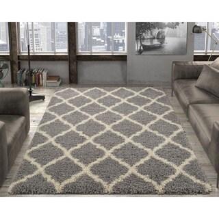 Ultimate Shaggy Collection Grey Contemporary Moroccan Trellis Design Area Rug (8'2 x 9'10)