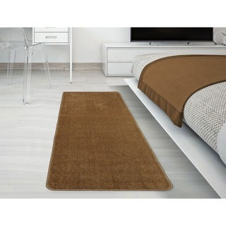 Ottomanson Softy Collection Camel Solid Machine-washable Non-slip Bathroom Mat Rug