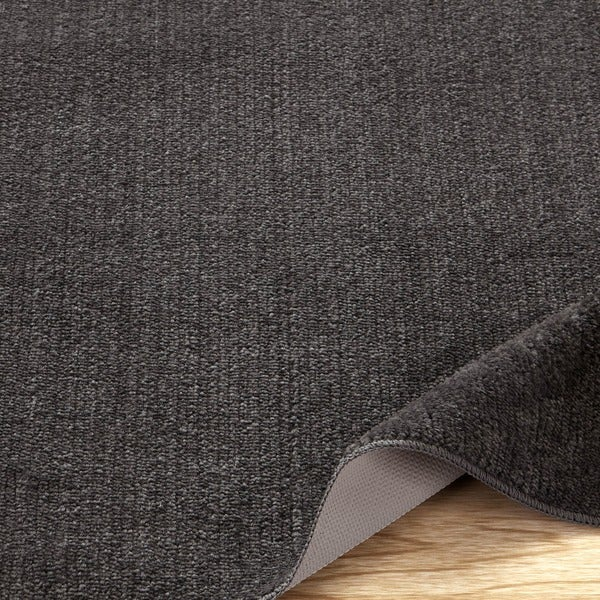 Softy Collection Grey Solid Machine-washable Non-slip Bathroom Mat Rug
