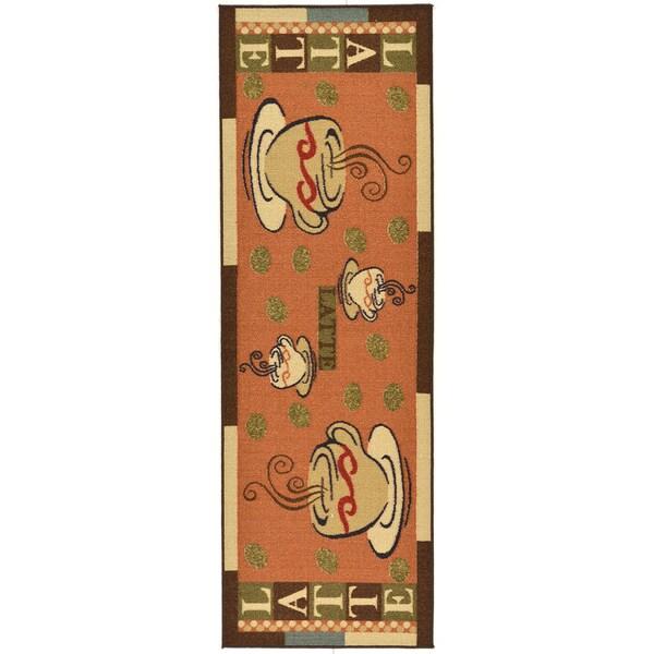 Ottomanson Sara's Kitchen Dark Orange Kitchen Collection Coffee Cups Design Runner Rug (1'8 x 4'11) 15581207