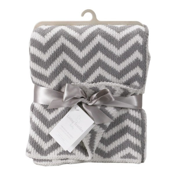 Living Textiles Grey Chevron Blanket