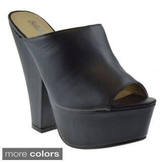 Bellamarie HEATHER-2 Women's Platform Peep Toe High Chunky Heel Mule Sandals