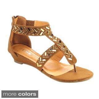 Link AWARD-24K Girls' Metallic Rhinestone Back Zipper Sandals