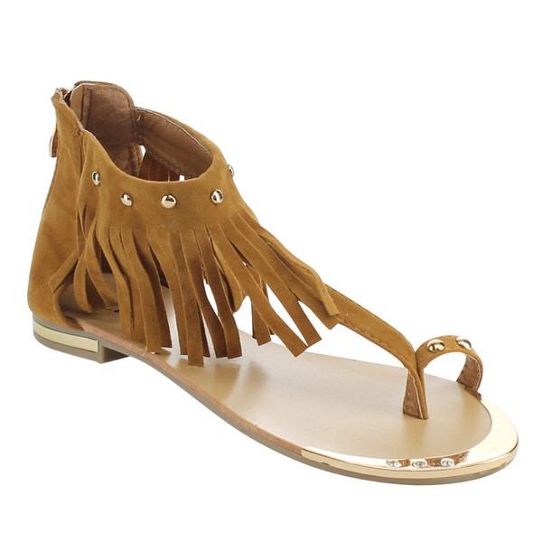 Link TYLER-28K Girls' Fringe Studs Back Zipper Sandals
