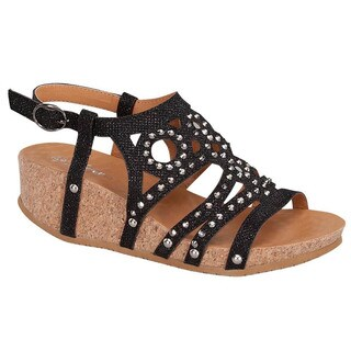 Link RENE-11K Girls' Glittering Studs Strappy Sling Back Platform Wedge Sandals