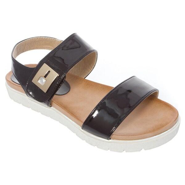 Bellamarie VENICE-1 Women's Metal Detail White Sole Flat Sandals