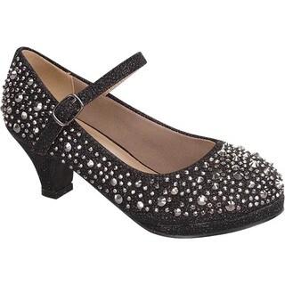 Link DANA-58K Girls' Glittering Rhinestone Chunky Heel Platform Mary Jane Shoes