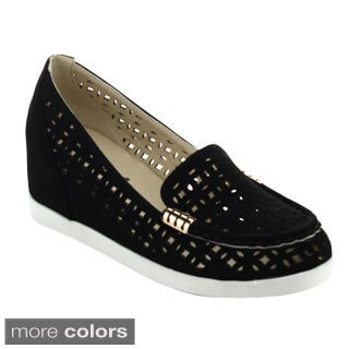 Puzzle PERRY-04 Women's Chic Slip On Hollow Out Loafers