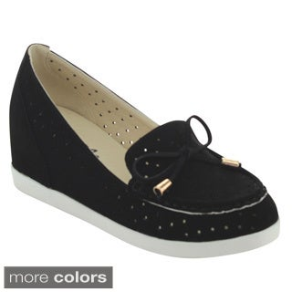 Puzzle PERRY-06 Women's Chic Slip On Breathable Bow Loafers