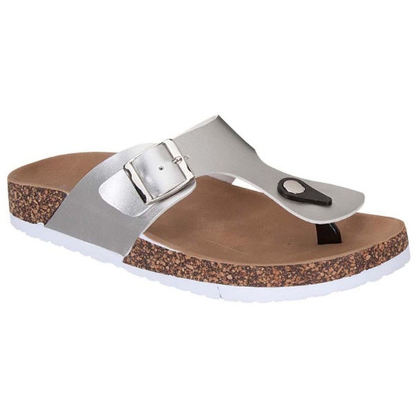 Top Moda DIME-42 Women's T-Strap Buckle Slip On Neutral Sandals