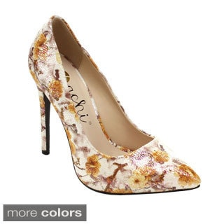 Machi MIYA-3 Women Floral Pointed Toe Slip On Stiletto High Heels