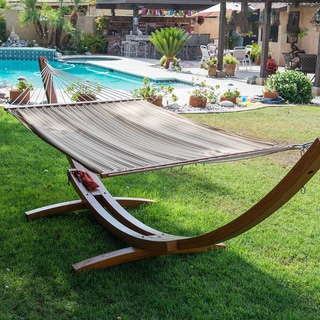 Prime Garden Sunbrella Fabric Hammock 14-foot Wood Arc Backyard Hammock Stand