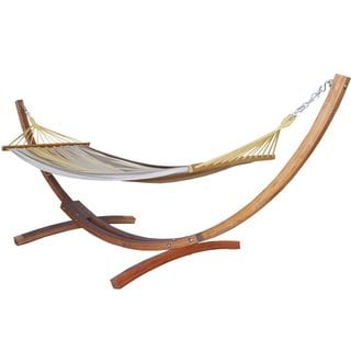Prime Garden Cotton Hammock 12-foot Wood Arc Backyard Hammock Stand