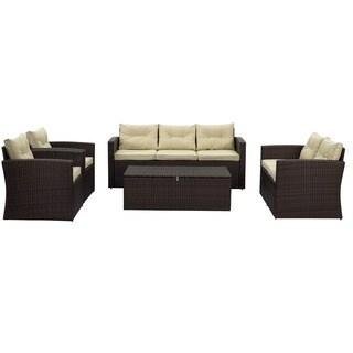 Rio 5-piece 7-seat Dark Brown All-weather Wicker storage Conversation Set