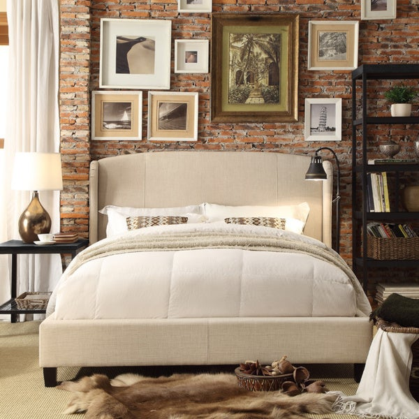 Moser Bay Furniture Chavelle Beige Upholstery Queen Platform Bed with Sides Wings