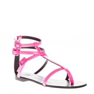 Giuseppe Zanotti Strappy Neon Pink Leather Sandals