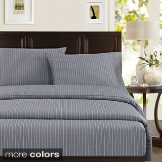 Echelon Home Pinstripe 300 Thread Count Cotton Sheet Set or Pillowcase Separates