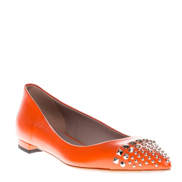 Gucci Studded Orange Leather Ballet Flats