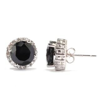 Sterling Silver Black Spinel & White Topaz Stud Earrings