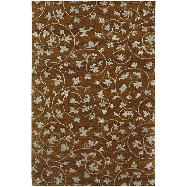 Hand-Knotted Floral Pattern Tobacco/Tobacco Wool (2.7x5.8 ) Area Rug