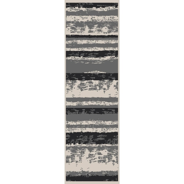 Machine-Made Stripe Pattern Grey/Light Grey Chenille (5x7.6 ) Area Rug