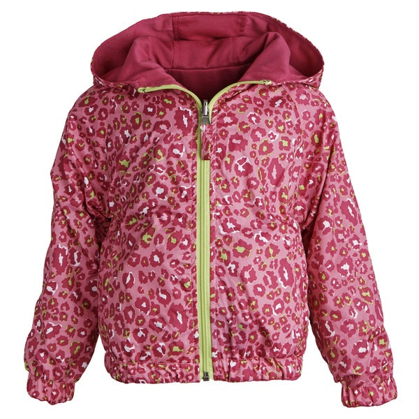 Pink Platinum Little Girls Reversible Hooded Leopard Spring Windbreaker Jacket