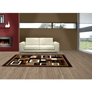 LYKE Home Sevyn Geometric Brown Area Rug (7'10 x 9'10)