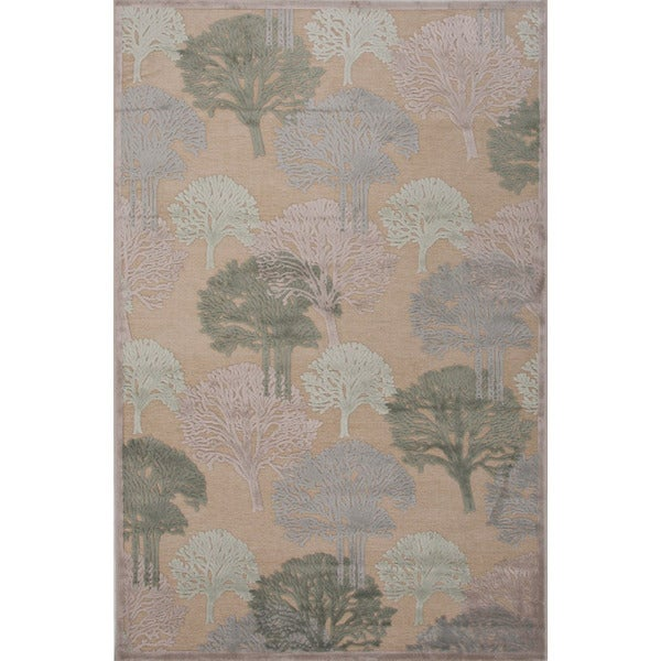 Machine-Made Floral Pattern Cream/Cream Chenille (5x7.6 ) Area Rug
