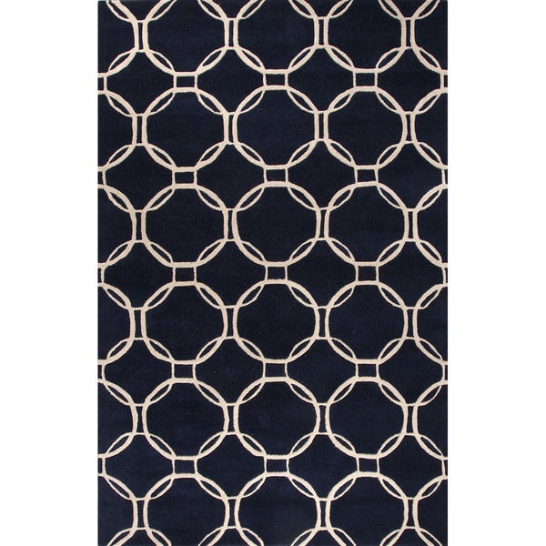 Hand-Tufted Geometric Pattern Navy Blue/Beige Wool (5x8 ) Area Rug