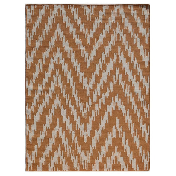 Flatweave Geometric Pattern Amber Glow/Amber Glow Wool (5x8 ) Area Rug