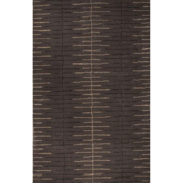 Hand-Tufted Geometric Pattern Liquorice/Liquorice Wool (5x8 ) Area Rug