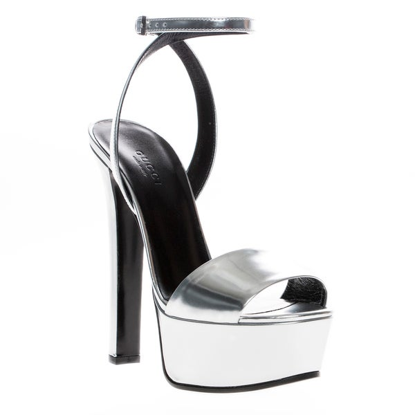 Gucci Metallic Silver Leather Platform Sandals