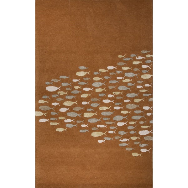 Hand-Tufted Animal Pattern Pumpkin/Pumpkin Wool (5x8 ) Area Rug
