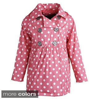Pink Platinum Girls' Double Breasted Polka Dot Waist Trench Coat