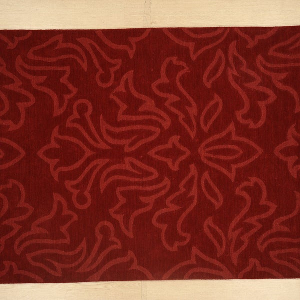 Handmade Floral Pattern Cranberry/Cranberry Wool (5x8 ) Area Rug
