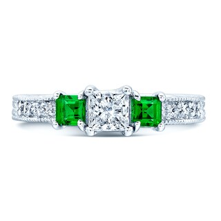 14k White Gold 1/8ct TDW Diamond and Tsavorite 3-stone Ring (H-I, I1-I2) (Size 7)