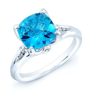 Estie G 14k White Gold Blue Topaz and Diamond Accent Ring (Size 7)