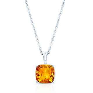 Estie G 14k White Gold Cushion-cut Citrine Solitaire Necklace