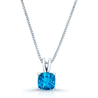 14k White Gold Solitaire Blue Topaz Baby Box Chain Necklace